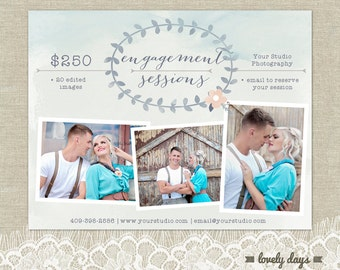 Save the date card engagement template for photographers engagement sessions mini sessions marketing blog board for photographers instant download yadclub Images