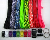 USA Made 550 Paracord Survival Bracelet Kit 80 Feet 8 Bright colors w/ Buckles