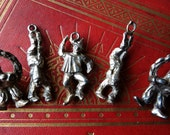 French circus clown charms, vintage pewter, Pierrot