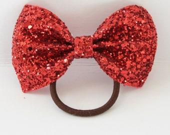 Red Glitter ponytail holder