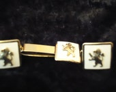 1950's Fighting Lion Cuff Links and Tie Clasp