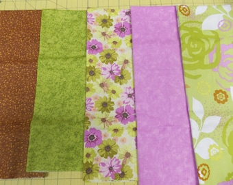 Green and Lavender Quilt Quilting Fabric Set Fat Quarters 5 Prints Free Spirit Cotton