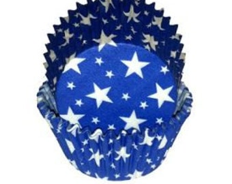 Blue with White Stars Baking Cups-Bake up some patriotic cupcakes with these Blue with White Stars Baking Cups.