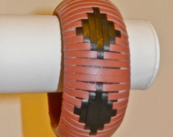 Leather Bangle Woven in a Spaced Diamond Pattern