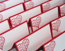 Filigree Hearts Wedding Place Cards in Red Set of Twelve, Intricate Heart Food Tents