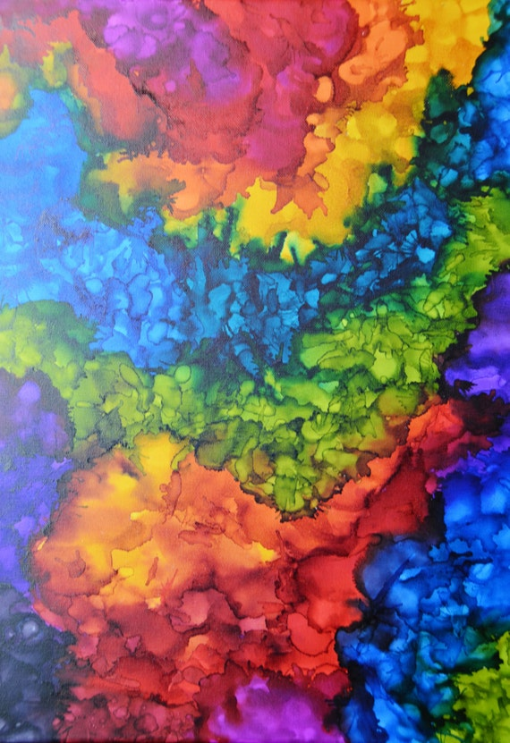 colorful abstract alcohol ink painting on 18 by