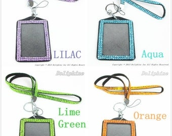 Multi Colors Rhinestone Crystal Bling Necklace LANYARDs Key Chain with Vertical ID Badge Holder