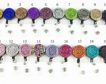 Multi-Colors Rhinestone Badge Reel Retractable ID Badge Holder- Belt Clip