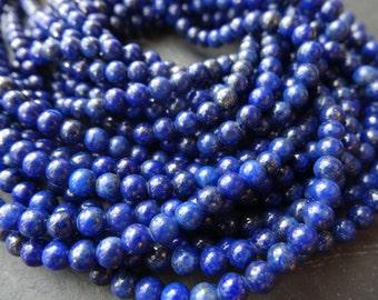 "16""  Lapis Lazuli  Round Bead  Gemstone --4MM"
