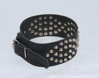 "Handmade black leather collar, decorated with metal mild spikes, about 2.4"" (60 mm) wide"