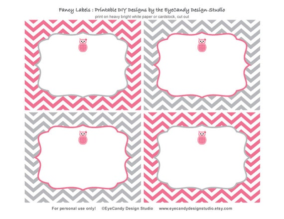 Items Similar To Printable Owl Fancy Labels Owl Girl