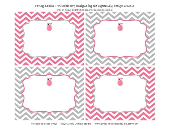 Items similar to Printable Owl Fancy Labels - Owl Girl Party ...