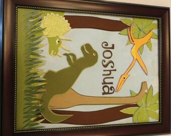 Dinosaur Custom Name frame for Child's room art.
