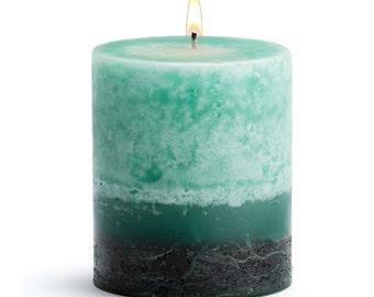 "Stone Candles 3"" x 3"" Fresh Pillar Candle, Kieffer Lime Lychee"
