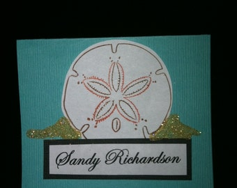 Sand Dollar Place Card for Weddings, Bridal Showers, and Beach events