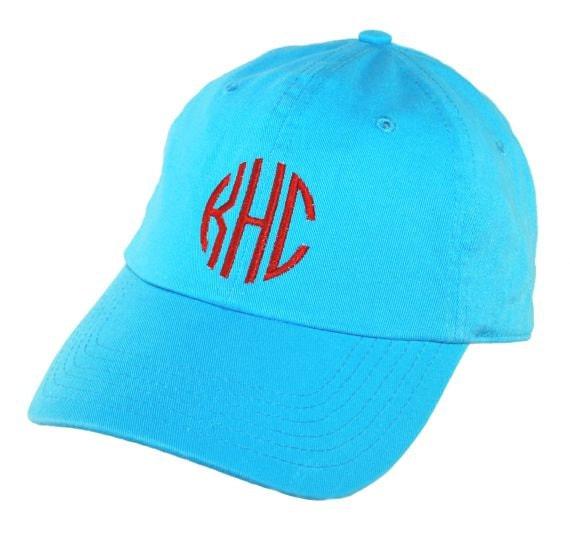 personalized aqua monogrammed baseball hat