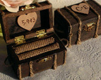 country wedding personalized wooden ring box, rustic wedding ring box,