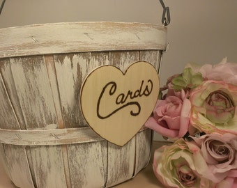 rustic card basket, country wedding basket, rustic wedding card holder, shabby chic B203