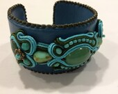 Soutache Jewelry Leather Bangle with gemstone cabochon. Turquoise-Green colors. OOAK
