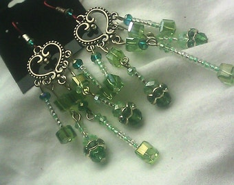 Emerald and Lime Crystal Earrings