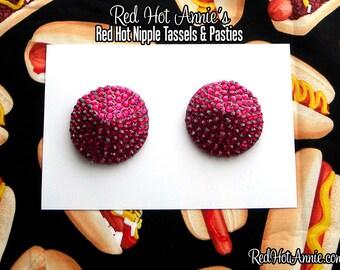Hot Pink Fuschi Rhinestone Burlesque Pasties (Pink)