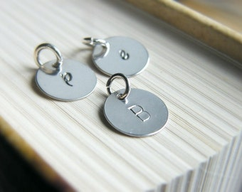 Initial Charm, Sterling Silver Disc, Customize Initial Sterling silver Charms, Hand Stamped Disc, Monogram, Personalized