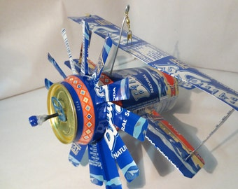 Airplane Whirl-A-Gig Made From Blue Sky Natural Soda Cans