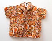 Vintage cotton short-sleeved shirt in retro shell pattern, 6-12 months