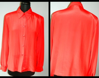 Vintage Red Blouse Size Medium Button Down