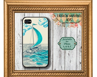 Sailboat iPhone Case, Nautical iPhone Case, Ocean iPhone Case, iPhone 4, 4s, iPhone 5, 5s, 5c, iPhone 6, 6s, 6 Plus, SE, iPhone 7, 7 Plus