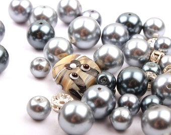 Glass beads- Grey