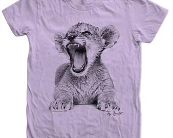 Womens Lion Tshirt  Hand Screen Print American Apparel Crew Neck Tshirt Available: S, M, L, Xl
