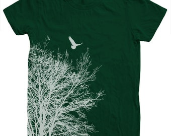 Women Tree Shirt Hand Screen Print American Apparel Available S, M , L, Xl