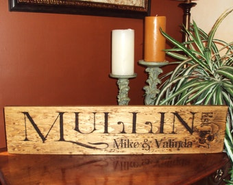 Custom family signs engraved wood