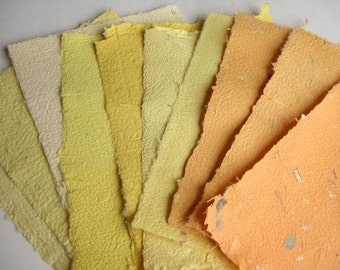 10 Beautiful Sheets of Handmade Paper Yellow Orange