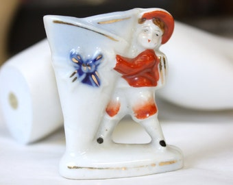 Occupied Japan Miniature Hand Painted Boy Holding Vase
