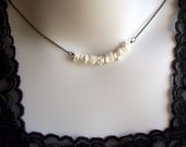 Sea Chips - Aged Brass and White Shell Necklace SRAJD Marked Down Three dollars