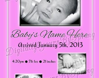 Printable Baby Birth Announcement - You Print DIGITAL FILE