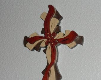 Ribbon Layered Cross Exotic Bloodwood, Maple and Walnut  ribbon layered cross