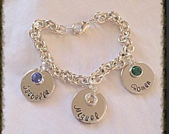Hand stamped personalized charm mom/grandma charm bracelet