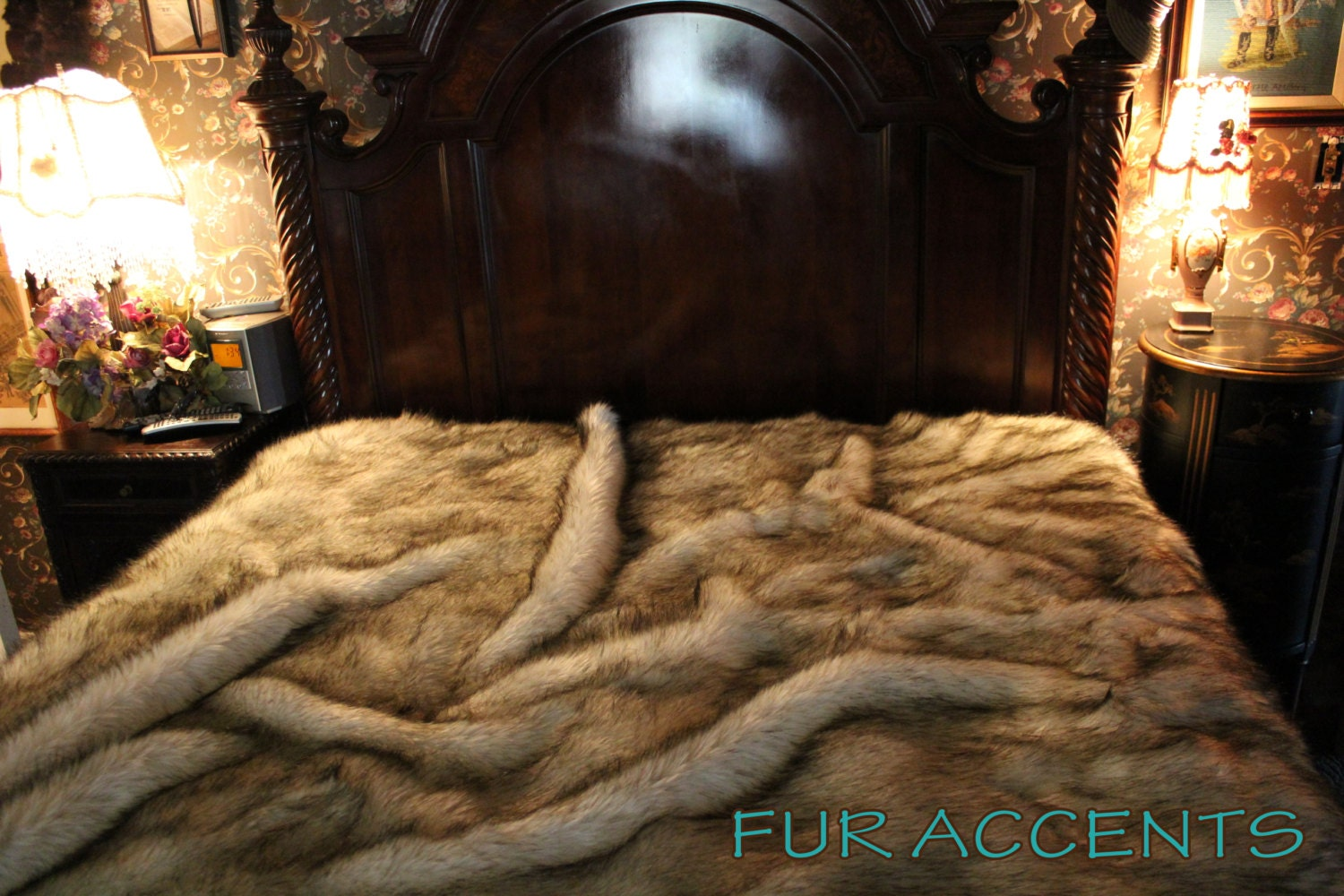 faux fur blanket king king plush gray wolf huskie fur bedspread by furaccents 7181