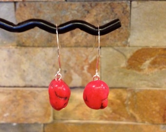 Red Imitation Coral Bead Dangle Earrings Great Valentines Day Gift
