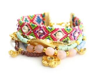 Friendship Bracelet Set,Beadwork,Christmas Gift,OOAK Spring,Swarovski,Flower Charm,Bohemian Indian Boho Chic Gypsy Hippie Multiple Strands