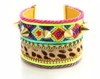 Friendship Bracelet,Christmas,Gift,Hair-on,Swarovski,Neon Jewelry,Studded Wide Cuff,bohemian indian gypsy style,Ethnic,boho,Made to Order
