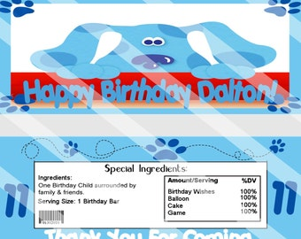 Adorable Blues Clues Birthday Party Candy Wrapper Custom Printable Party Favor
