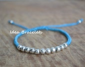 Blue Silver Jewelry Beads Chic Bracelet