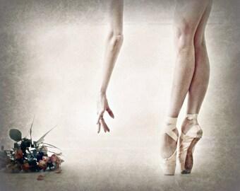 En Pointe--ballet wall art, pointe shoes, ballerina, tights, dancer portrait, ballet, flower bouquet, satin ribbons, legs, feet, hand