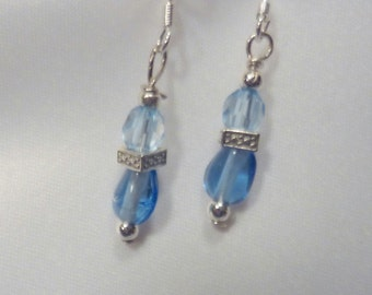 Ladies Beaded Earrings - Blue Crystals with silver plated end caps - Wedding Earrings