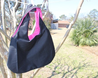 Reversible Shoulder Hobo Bag - Black and White Pinstripes with Pink Lining