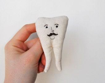 Handmade Embroidered Mr Tooth Brooch
